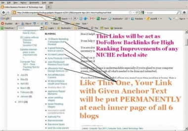 provide 540+ Lifetime Solid DoFollow Backlinks to your site homepage or inner page Url for high ranking with 6 old Blogs