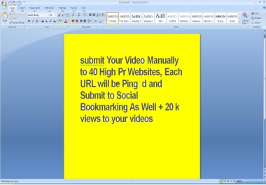 submit Your Video Manually to 40 High Pr Websites, Each URL will be Pinged and Submit to Social Bookmarking As Well + 20 k views to your videos
