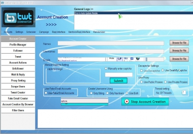 I will Give You Twitter Account Creator+Follower Bot 100 % Safe working