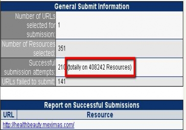 submit your website to over 300000 different resources