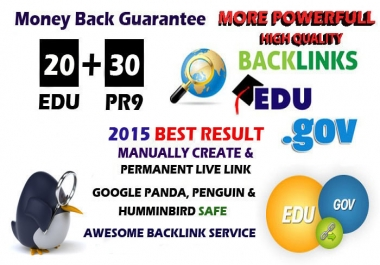 create 20 .EDU .GOV + 30 PR9 Backlinks From High Authority Domains