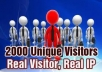 send 2200 targeted US REAL HUMAN VISITORS or any country visitors