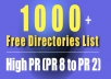give 1001 directories list  Pr 8 to 2