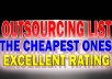 Give You My Hundreds of Cheap OUTSOURCING List With Excelent Track Record That Support Your Businesses in Long Term