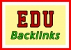 create 10 edu backlinks dofollow from unique ip and domain,this edu backlinks is good to improve your SERP