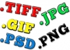 convert 7 Image Files To Different FORMATS psd, jpg, png, gif, tiff