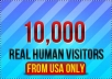 deliver 10,000 real human visitors from USA and Canada to your site