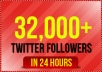 add 32,000+ real looking twitter followers to your account within 24 hours