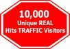 give you unique real 10,000 hits(Traffic) to your website