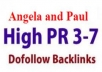 make 700 Angela/ Paul backlinks with high Page Rank (4-7), that place your web site on 1st page google