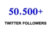 increase 50,500+ Real Looking twitter followers to your account in specific time of 6 hours instant with out your account admin access just