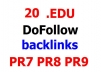 create 20 EDU DoFollow backlinks on PR9 PR8 and PR7 domains and ping them