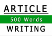 write an article of 500 words based on your topic